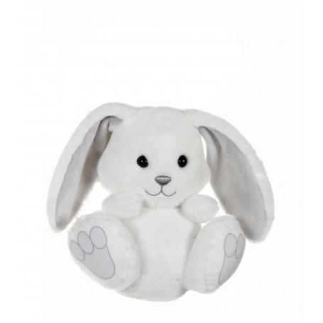 P'tit lapin empreinte blanc, oreilles grises - 15 cm