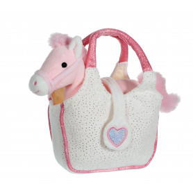 Lovely Bag poney rose - sac blanc - 20 cm