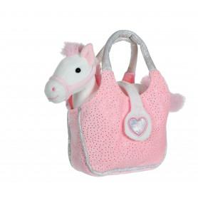 Lovely Bag poney blanc et rose - sac rose - 20 cm