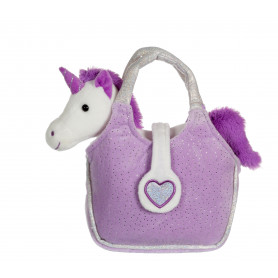 Lovely Bag licorne blanche - sac violet - 20 cm