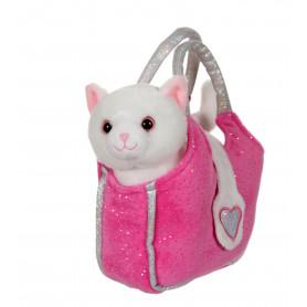 Lovely bag chat blanc  sac fushia- 20 cm