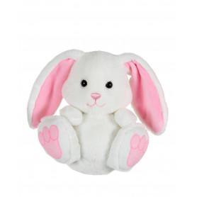 P'tit lapin empreinte blanc, oreilles roses - 15 cm