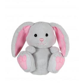 P'tit lapin empreinte gris, oreilles roses - 15 cm