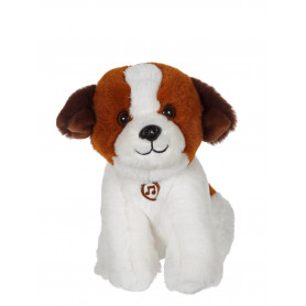 Chien Mimi dogs sonore blanc et marron - 18 cm