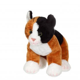 Chat Floppikitty - roux, noir et blanc 22 cm