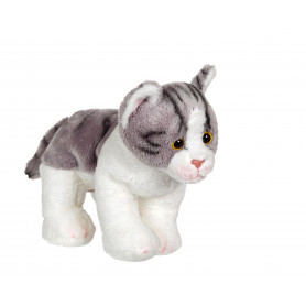 Chat Floppikitty - gris et blanc 22 cm