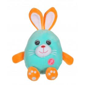 Funny Eggs sonores 15 cm - lapin bleu et orange