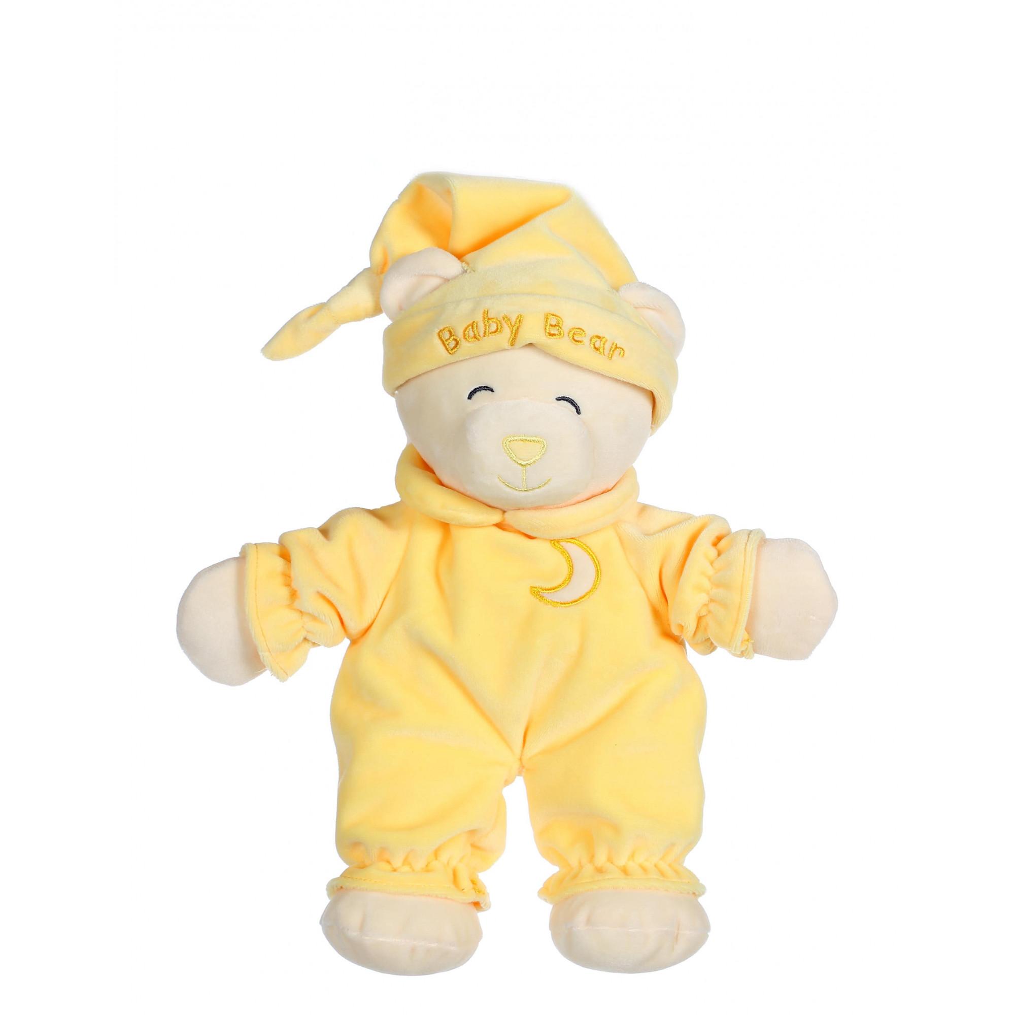 Ours Baby bear douceur jaune pâle - 24 cm
