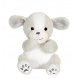 Chien cute doggy gris et blanc - 18 cm