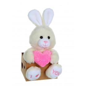 Les p'tits lovers lapin rose - 14 cm