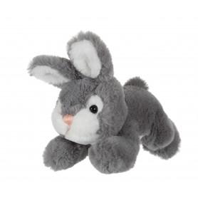 Petit lapin allongé gris - 20 cm