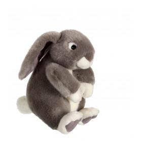 Lapinou assis gris - 22 cm